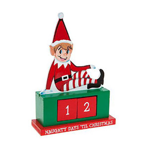 Wooden Elf Countdown with Changeable Blocks