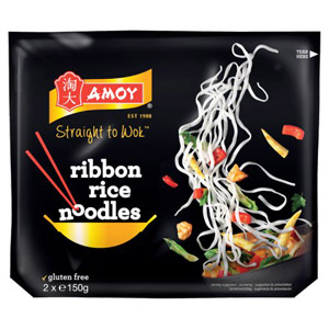 Amoy Straight To Wok Ribbon Rice Noodles 2 Pack