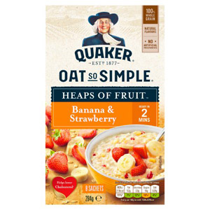 Quaker Oat So Simple Heaps Of Fruits Banana & Strawberry 8 Pack