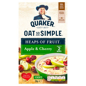 Quaker Oat So Simple Heaps Of Fruit Apple & Cherry 8 Pack