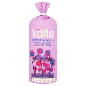 Kallo Blueberry & Vanilla Wholegrain Low Fat Rice & Corn Cakes