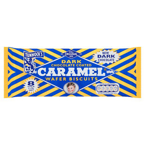 Tunnocks Dark Chocolate Caramel Wafer Biscuits 8 Pack