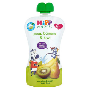 Hipp 6 Month Organic Just Fruits Pear, Banana & Kiwi Pouch