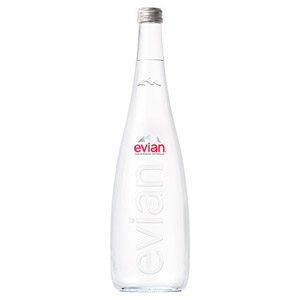 Evian Still Mineral Water Glass Bottle