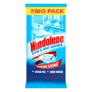 Windolene Glass And Shiny Surfaces Wipes 30 Pack