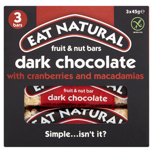 Eat Natural Dark Chocolate Cranberry and Macadamia Bars 3 Pack