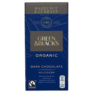 Green and Blacks Dark Hazelnut & Currant Bar