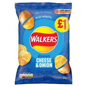 Walkers Cheese & Onion Crisps Share Bag