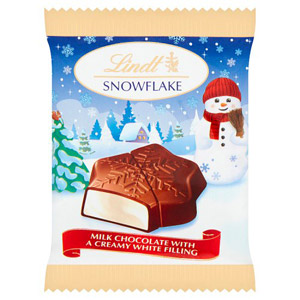 Lindt Snowflake Milk Chocolate with a Creamy White Filling