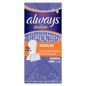 Always Dailies Folded and Wrapped Normal 20 Pack