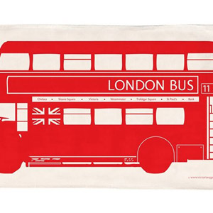 Victoria Eggs London Bus Tea Towel Red
