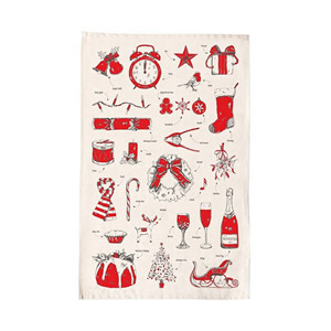Victoria Eggs Christmas Delights Tea Towel Red