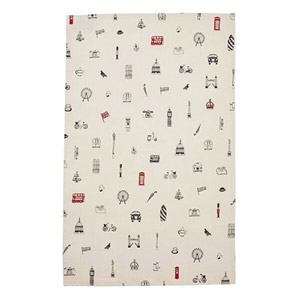 Victoria Eggs Simply London Tea Towel Charcoal & Red