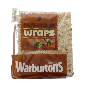 Warburtons Brown Easy Roll Wraps 5 Pack