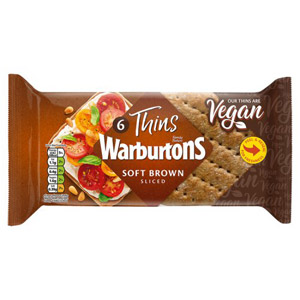 Warburtons 6 Sandwich Thins Brown