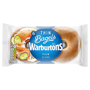 Warburtons Thin Bagels 6 Pack Plain