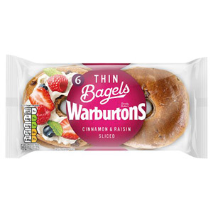 Warburtons Thin Bagels 6 Pack Cinnamon & Raisin