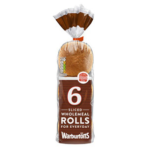Warburtons 6 Sliced Wholemeal Rolls