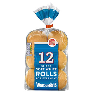 Warburtons 12 Sliced White Rolls