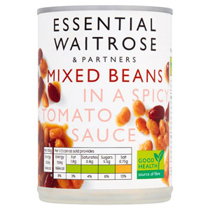 essential Waitrose Mixed Beans in Spicy Tomato Sauce
