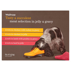 Waitrose Dog Food Meat Selection in Jelly and Gravy 8 Pack