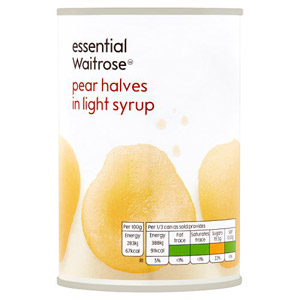 essential Waitrose Pear Halves in Light Syrup