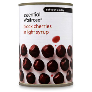 essential Waitrose Black Cherries in Syrup