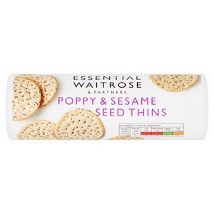 essential Waitrose Thins Poppy & Sesame Seed