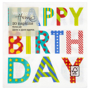Waitrose Happy Birthday Napkins 33cm 20 Pack
