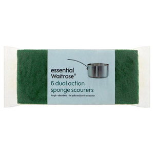 essential Waitrose 6 Dual Action Sponge Scourers