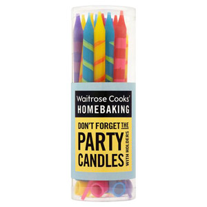 Waitrose Cooks Ingredients Striped Party Candles & Holders 16 Pack