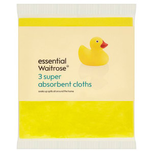 essential Waitrose Super Absorbent Cloths 3s