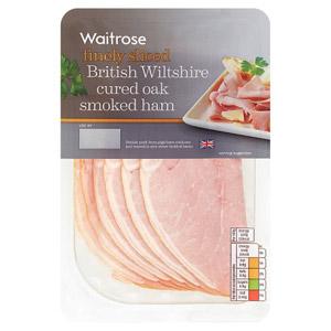 Waitrose British Wiltshire Finely Sliced Cured Oak Smoked Ham