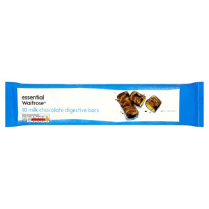 essential Waitrose Milk Chocolate Digestive Bars 10 Pack
