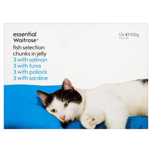 essential Waitrose Cat Food Fish Selection in Jelly 12 Pack