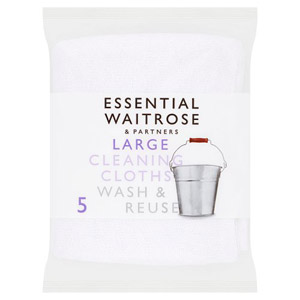 essential Waitrose Large Cleaning Cloths 5s
