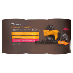 Waitrose Dog Food Firm & Chunky Meat Selection in Jelly 6 Pack