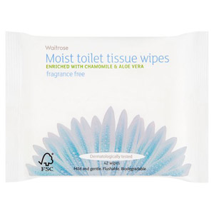 Waitrose Moist Toilet Tissue Refill 42s