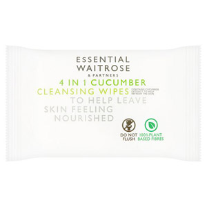 essential Waitrose 4 in 1 Cleansing Cucumber Wipes 25 Pack