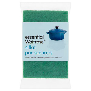 essential Waitrose Scourers Flat Pan 4 Pack