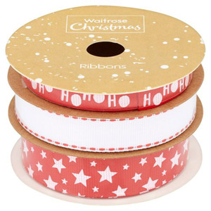 Waitrose Christmas Red & White Ribbons on a Spool