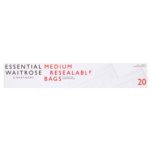 essential Waitrose Reclosable Medium Bags 20s