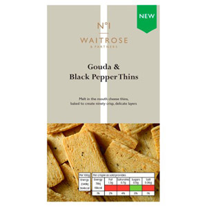 Waitrose & Partners No.1 Gouda & Black Pepper Thins