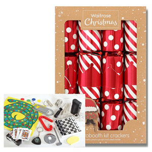 Waitrose Christmas 8 Photo Booth Red/Stripe Crackers