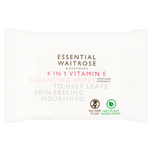 essential Waitrose 4 in 1 Cleansing Wipes Vit E 25s