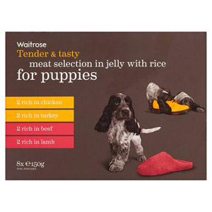 Waitrose Dog Food Meat and Rice in Jelly for Puppies 8 Pack