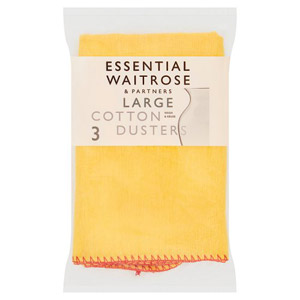 essential Waitrose Large Cotton Yellow Dusters 3 Pack