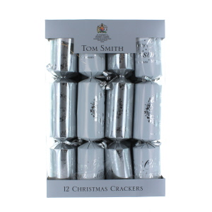 Tom Smith Silver & White Wreath Crackers 12 Pack