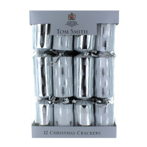Tom Smith Silver & White Tree Crackers 12 Pack