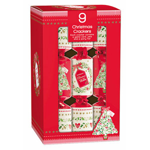 Giftmaker Contemporary Traditional Cube Crackers Red & White 9 Pack